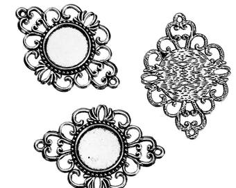 5 connectors Silver Flower ring 18mm - creating Jewelry - Diamond
