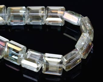 Set of 10 beads yellow square glass transparent 13 mm - SC41030-