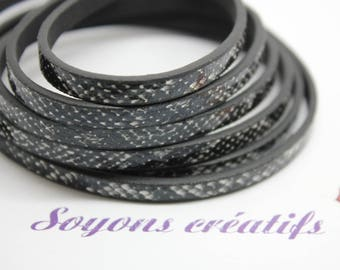 1 m strap in leather effect snake black 5 mm - Creation jewels - P3607
