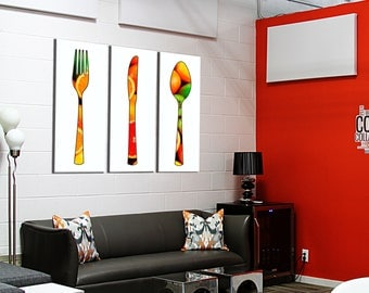 Painting on canvas covered triptych 3 x(40x100) citrus