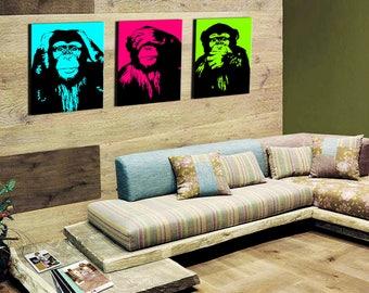 The monkeys pop art triptych 3 x (30x40cm)