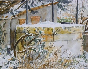 "Watercolor ""the well in winter"