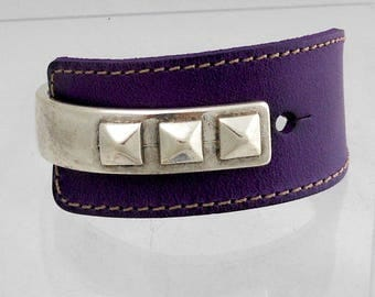 Leather and silver plated zamak Bangle Cuff Bracelet