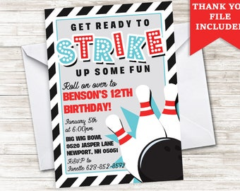 Bowling Invitation Invite Birthday Boy Digital Stripes Strike 5x7 Black Blue Red