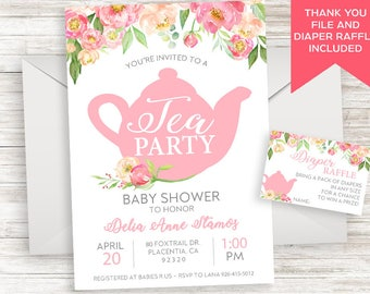 Tea Party Baby Shower Invite Invitation Sprinkle Digital 5x7 Watercolor Floral Flowers Pink High Tea