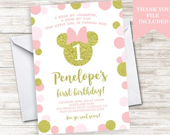Minnie Birthday Invite Invitation Digital Mouse Inspired 5x7 Themed Pink Gold Glitter Polka Dot