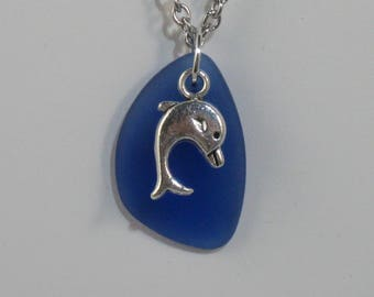 Cobalt Blue Sea Glass Freeform Pendant with Dolphin Charm on Stainless Steel Chain