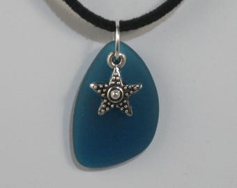 Teal Blue Sea Glass Freeform Pendant with Starfish Charm on Suede Cord Necklace