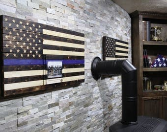 Police Officer Gifts Thin Blue Line Wooden Flag Funeral Gift Engraving