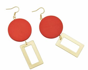 Red, Gold Bold Wooden Earrings
