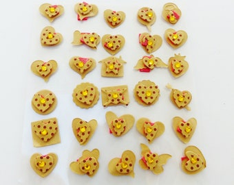 heart letter 30 embellishments adhesive 3D cardboard with Golden rhinestone star
