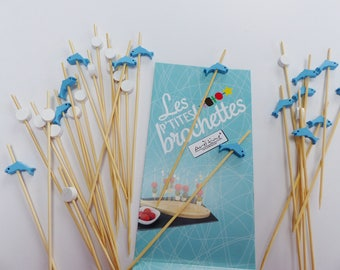 30 picks for mini skewers Dolphin blue and round white wood