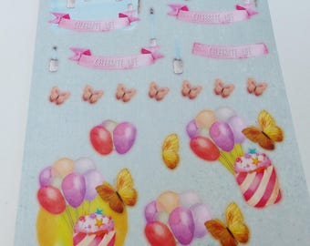 A4 sheet of pre-cut to assemble for a 3D cardmaking cupcake balloon butterfly effect image party celebrate life flag