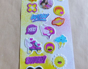 sheet of 20 stickers puffy SOY LUNA embossed puffy glitter Disney fabric effect