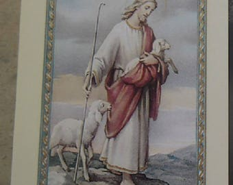 Look pious Jesus the good Shepherd 11.5 cm x 6,5 cm
