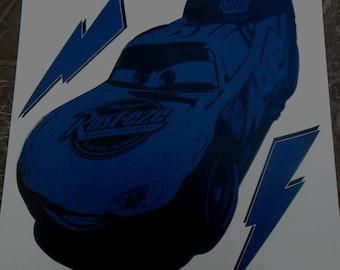 Boy chalkboard wall decal car Cars Flash 33 cm x 20 cm