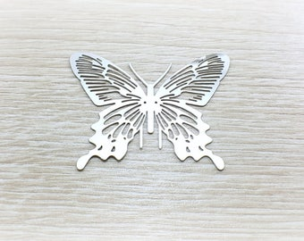 Print in silver filigree, butterfly, stainless steel