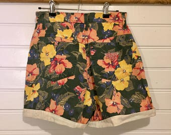 Vintage 90's High Waisted Floral Denim Shorts Made in NZ Sz 12