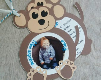 Blue and Brown monkey theme invitation