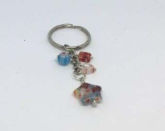Multicoloured Millefiori Glass Bead Keyring Handmade