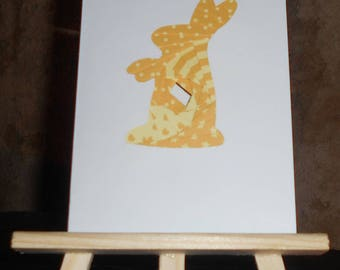 Birth - Bunny yellow iris folding card