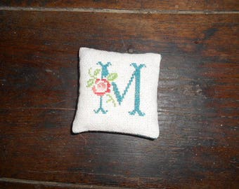 Personalized - initial hand with an embroidered Lavender sachet pink
