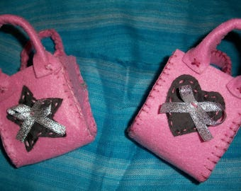 Small bags fabrics pink floral felt heart and Star