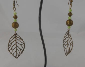 Bronze earrings with green 4mm pearl beads
