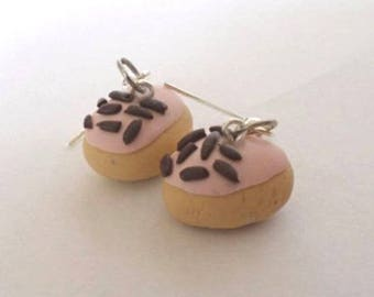 Pastry chocolate Strawberry polymer clay earrings