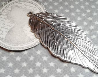 "☆ Large pendant ""Feather"" in silver, 71 x 29mm, hole 2 mm. ☆"