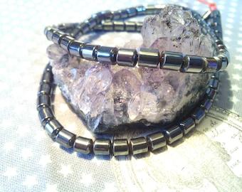 1 of 50 5 X 4 MM Hematite column beads, black thread