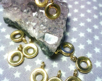 """x 10 """"donut"""" bails, cadmium and nickel and lead free antique gold, antique gold, 11 x 8 x 4 mm, hole: 2 mm"""