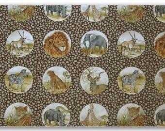 patchwork African animals fabric