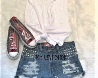 Levi mid waist studded Ripped Jean Shorts - Small