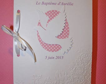 "Custom cardboard embossed by hand with your text on the inside booklet of baptism or communion ""White Dove"""