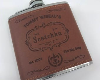 Scotchka! - Tommy Wiseau - The Room - Jack Daniels inspired - Wood Wrapped 6oz Stainless Steel Hip Flask!