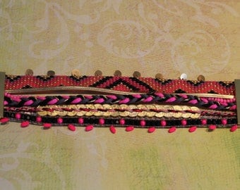Gold multi strand bracelet, neon pink, grey and Black 4 cm please allow 7 days