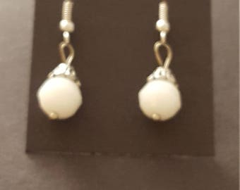 Earrings - Drop, White