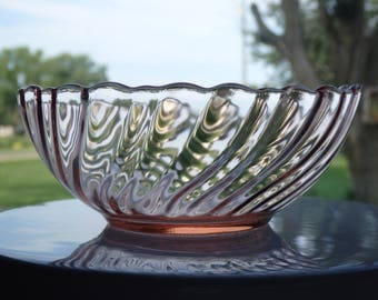 Vintage Pink Arcoroc France Glass Rosaline Bowl,Fruit Bowl,Ice Cream Bowl,Mint Dish