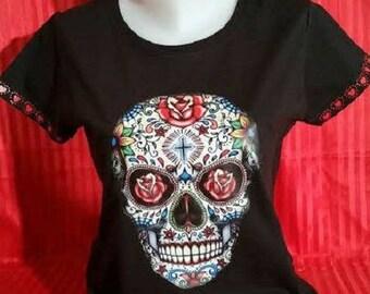 "Printed TEE SHIRT woman ""Mexican Skull '"""