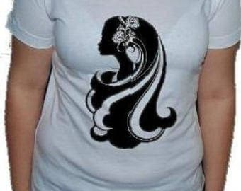"woman tee-shirt, printed ""shade PORTRAIT woman"""
