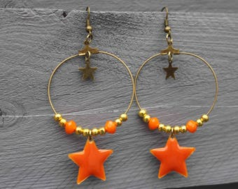 Earring, creole bronze, beads, orange star