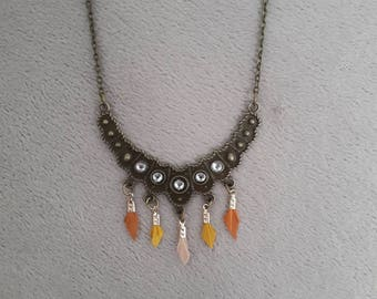 Bib and feather ethnic necklace
