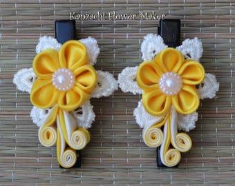 kanzashi Flower hair clips wedding hair clips accessories tsumami womens hair clip cute girls hair clip barrettes set of 2 flower girl gift
