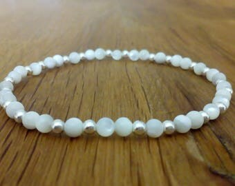 Mother of Pearl and Sterling Silver stretch bracelet