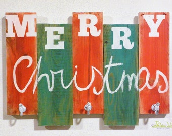 Reclaimed wood hanger Merry Christmas hand painted