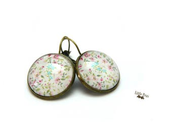 Liberty Blue Pink glass dome earrings retro vintage