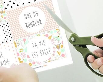 Carte Mini Papeterie Carte de visite Carte Merci Que du Bonheur Carte Amour Love Hello Carte Remerciement Carte Naissance Carte Anniversaire