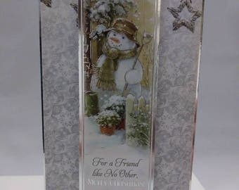 Frosty in His Garden wishing Merry Christmas to A Friend Like No Other - 8 X 4 Christmas Holiday Card - Blank Inside