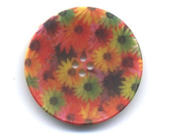 Fancy flowers 34 mm button